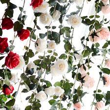 1.8M Artificial Fake Silk Red Rose Flower Ivy Vine Hanging Garland Wedding Decor