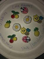 Glow In Dark Bees, Daisies & More Lot Of 10 Crocs Shoe,Bracelet Charms,Jibbitz