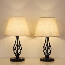 Traditional Table Lamps Set of 2 Dark Bronze Metal Drum...