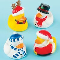 Pack of 4 - Christmas Rubber Ducks - Stocking Party Bag Fillers