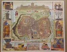"Jerusalem City map 24"" x 30"" Reproduction Print Poster Christmas Gift Jesus Amen"
