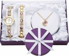 New Limit Ladies' Gold Plated Bracelet, Necklace and Watch Set -Thoughtful Gift