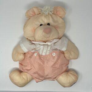 1986 Fisher Price PUFFALUMP BEAR Teddy PEACH White Orange Nylon Vtg Toy