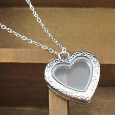 Europe Photo Retro Carving Love Heart Silver Magnetic Locket Pendant Necklace