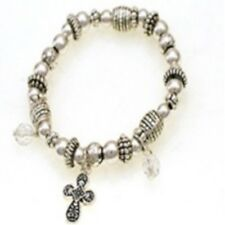 Childrens Silver Beaded Stretch Bracelet W Cross Charm