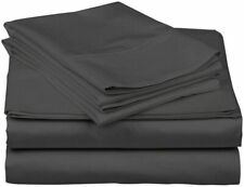 """New Rich Quality Sheet Set Egyptian Cotton Choose Sizes """" Grey """" Solid 1500Tc"""