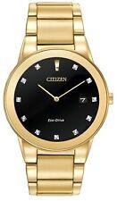 Citizen Eco-Drive Men's Axiom Diamond Markers Gold Tone 40mm Watch AU1062-64G