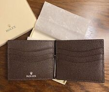 New Authentic Stamped Rolex Leather Wallet Credit Card Holder Money Clip