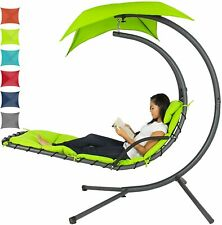 ✨Outdoor Hanging Curved Steel Chaise Lounge Chair Swing Arc Stand Swing Canopy