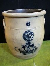 Antique 3 Gallon Crock Cobalt Blue Salt Glaze Stoneware Pottery