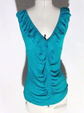 BOHO Jane Norman Aqua green stretch frilled sleeveless top size 10