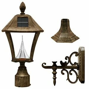 Gama Sonic GS-106FPW-WB Baytown Lamp Outdoor Solar Light Pole Pier & Wall Mou...