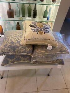 "Nadia Damask Croscill Decorative Corded Throw Pillows (5) New 18"" X 18"""