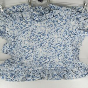 """Laura Ashley Standard Pillow Sham Double Ruffle Blue White 29"""" x 35"""" In Roses"""