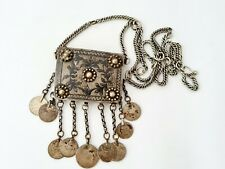 Antique Ottoman Turkish silver niello necklace  hamayil ..