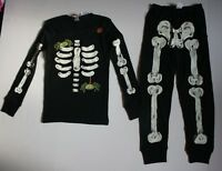 NEW Gymboree Outlet Boys Skeleton Halloween Gymmies PJs Black 2T Scary Spiders