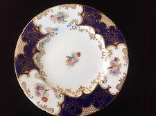 "Antique Coalport Dinner Plate Cobalt Blue Batwing Hand Painted Floral 10.5"""