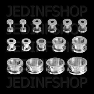Ear Flesh Tunnel Hollow Plug - Screw Fit Screw On | 1.2mm-20mm | Stainless Steel