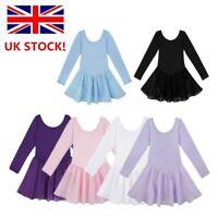 UK Girls Ballet Dance Dress Long Sleeves Gymnastics Leotard Dancewear 2-12Yrs