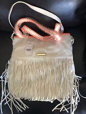 STEVE MADDEN Women's Leather FRINGE PURSE/BAG whitewith orange trim