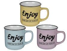 3 Kaffeetassen Kaffeebecher Kaffee Tasse ENJOY YOUR LIFE Set Becher Vintage