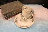 Vintage Cup and Saucer Set Cup of Love Wedding Vows Gold Flowers Iridescent