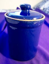 BLUE GLAZED CERAMIC CONTAINER WITH LID