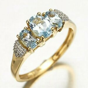 Women Rings Size 10 Fantastic Wedding Sky Blue Cubic Zirconia Yellow Gold Plated