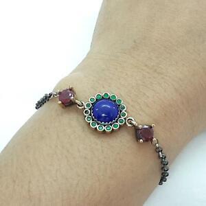 Deco 5.60ctw Sapphire, Ruby, Emerald & 14K Yellow Gold 925 Silver Bracelet 7.6g
