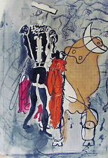 BRAQUE - THREE (3) ORIGINAL LITHOGRAPHS OF BULL FIGHTS - 1955 - FREE SHIP IN US