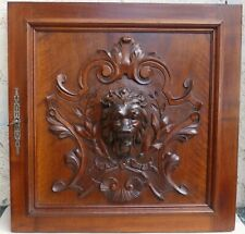 French Antique Wood Carving Panel Door Architectural Salvage Lion Walnut Gothic