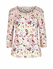 MARKS AND SPENCER PURE COTTON 3/4 SLEEVE CONVERSATIONAL PRINT TOP UK 10 BNWT