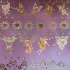 "12X12"" Scrapbook Paper Gold Foiled Enchanted Forest Faerie Border on Purple"