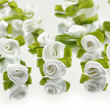 DIY Ribbon Rose 100 pcs Wedding Flower Satin Decor Appliques Craft Sewing Leaves