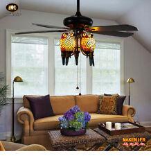 Makenier Tiffany Style Stained Glass 5-light Parrot  Ceiling Fan Light Kit