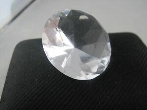 "Diamond Cut Clear Glass Paperweight - Jewel Gem - 1 1/2"" - 38 mm - Decor Piece"