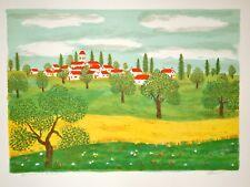 Maurice LOIRAND- Lithographie originale signée-Village dans les champs