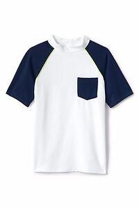 LANDS' END Boy's L(14/16) White & Navy Colorblock Rashguard Swim Shirt NWT