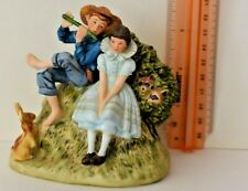 """Norman Rockwell Figurine, Boy Playing Flute for Girl, 4 1/2"""" Tall, Bone China"""