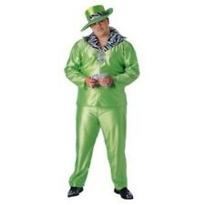 "Pimp Costume ""Big Daddy"" 3Pc Green Poly Satin & Zebra Coat Pants & Hat Plus"