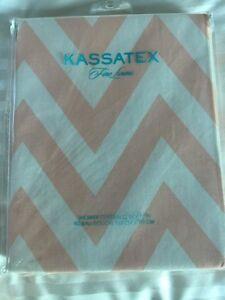 New Kassatex Pale Pink and White Zig Zag Chevron Shower Curtain
