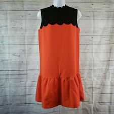 Victoria Beckham for Target Womens Dress Sz Sml Black Orange Scallop Sleeveless