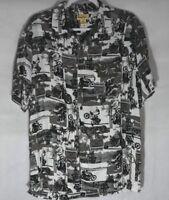 Panama Jack Men's L  Short Sleeve Shirt Motorcycle Club Maui Hawaii Black/White