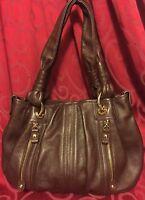 B MAKOWSKY Chocolate Brown Soft Pebbled Leather Shoulder Hobo Handbag Purse EUC