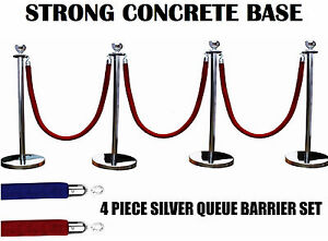 4 X SILVER QUEUE BARRIER POSTS STANDS SECURITY STANCHION ROPE DIVIDER STEEL SET