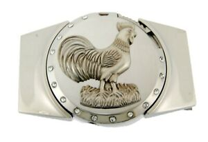 Removable Lighters Belt Buckle Rooster Cock Fighting Silver Metal Western Rodeo