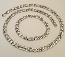 316L Solid Stainless Steel Bracelet Necklace Set Curb Figaro Mens Chain Silver