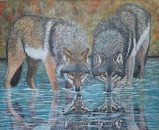 "original oil painting - Wolves- size  30""x 24"""