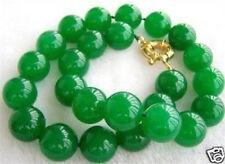 "10mm Natural Green Jade Bead Necklace 18"" AAA"