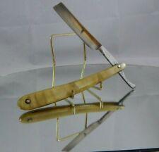 Vintage Fulton Cutlery Straight Razor Iridescent Green Scales Rochester NY